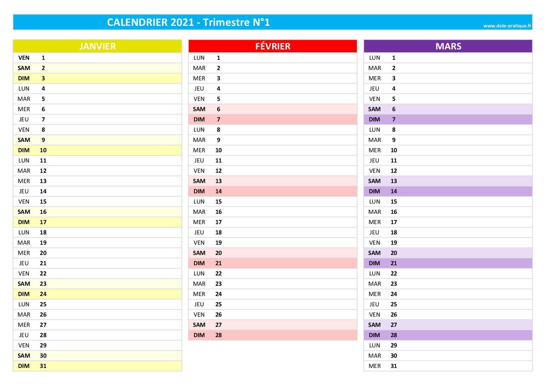 Calendrier 2022 Trimestriel Calendrier trimestriel 2021 à consulter, télécharger en pdf et