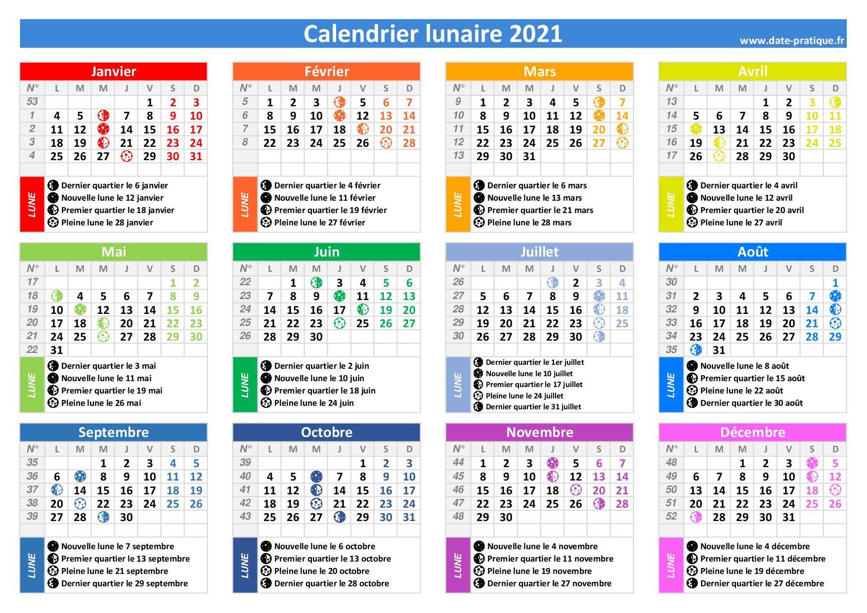 Calendrier Lunaire Davril 2022 Calendrier lunaire 🌙 2021 à consulter et imprimer
